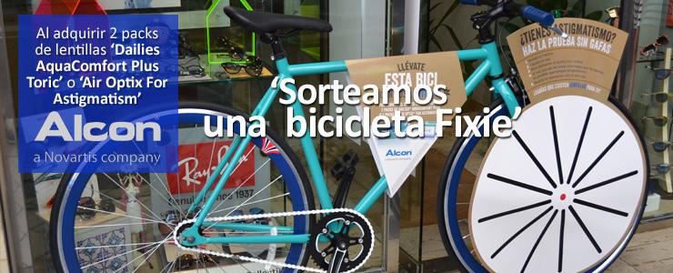 LLÉVATE ESTA BICI 'FIXIE SINGLE SPEED' CON TUS LENTILLAS ALCON.  En Marta Castrillo Óptica sorteamos este verano una atractiva y cómoda bicicleta urbana tipo 'fixie'.  Este sorteo es posible gracias a la… Me Interesa